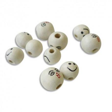 Sachet de 20 perles en bois visage assorties diamètre 12mm