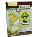 AVENUE MANDARINE Boîte contenant 3 puzzles 23 pièces thème pirates