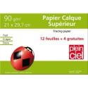 PLEIN CIEL Pochette de 12 feuilles+4 gratuites papier calque 90g format A4 - SPECIAL RENTREE DES CLASSES