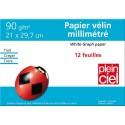 PLEIN CIEL Pochette de 12 feuilles papier millimétré 90g format 21x29,7cm - SPECIAL RENTREE DES CLASSES
