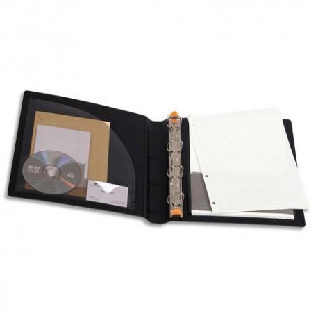 Classeur 4 anneaux EXACOMPTA - Classeur maxi panorama anneaux en D polyfoam noir EXABINDER