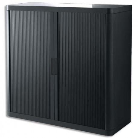 PAPERFLOW EasyOffice armoire démontable corps en PS teinté et rideau Noir - Dim L110x H104x P41,5 cm