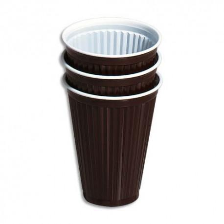 HUHTAMAKI Sachet de 100 gobelets 15 cl boissons chaudes rainurés marron/blanc H. 9,1 cm Diamètre 7,03 cm