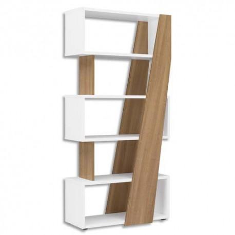 GAUTIER Bibliothèque réversible gauche/droite Xenon - Dimensions : L90 x H188 x P38 cm merisier Italien