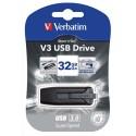 VERBATIM Clé USB 3.0 Store 'n' Go V3 32Go Noir/Gris + redevance 49173