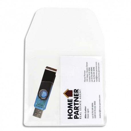 3L Sachet 10 pochettes adhésives polypropylène avec rabat pour clés USB/cartes de visite 10260