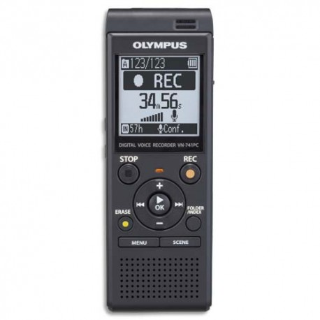 OLYMPUS Enregistreur numérique VN-741, 4Go, MP3, carte SD, sélection scènes, réduction bruit V415111BE000