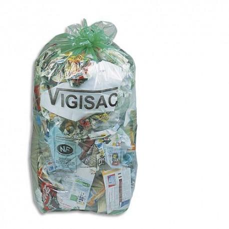 SACS POUBELLES Boîte de 250 Sacs-poubelles vert transparents Vigisac 110 litres 38 microns