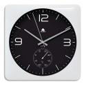 ALBA Horloge murale Duo carrée blanche en ABS et verre - pile AA non fournie - Cadran 30 x 30 cm, P3,5 cm