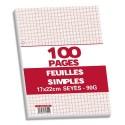 Feuilles simples grands carreaux 17x22 perforées blanche 200 pages papier 90g