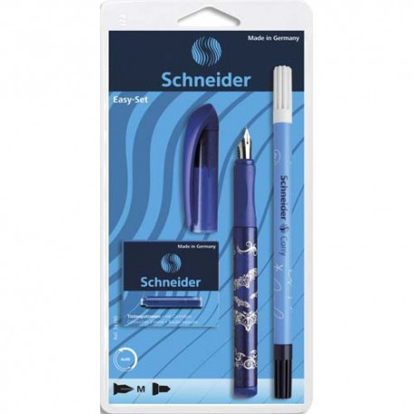 Stylo plume SCHNEIDER Set stylo plume Easy bleu et 5 cartouches standards, Encre bleue