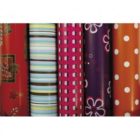 paquet 10 rouleaux papier cadeau 2x0 7 m assortis. Black Bedroom Furniture Sets. Home Design Ideas