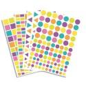 OCOLOR Lot de 40 planches, 4170 gommettes pastel et acidulées réparties en 4 formes et 3 tailles.