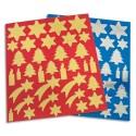 APLI Sachet de 6 planches de gommettes thème Noël, 3 coloris Or, 3 coloris argent, format 21x24 cm