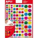 AGIPA Sachet de 6 feuilles, 624 gommettes rondes métal 20mm adhésif permanent, couleurs assorties