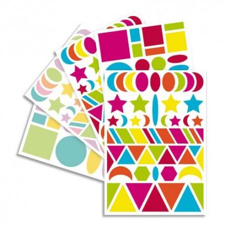 MAILDOR Sachet de 20 planches 14,8x21cm, 940 gommettes Baby géométriques couleur vif/pastel assorties