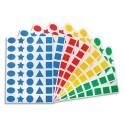 APLI Paquet 32 feuilles de gommettes carré rond triangle étoile ovale prédécoupées bleu rouge vert jaune