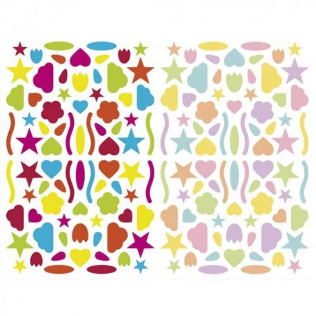 MAILDOR Sachet de 4 planches 10,5x16cm, 320 gommettes Initial multiformes couleurs vif/pastel assorties