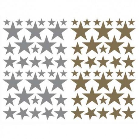 MAILDOR Sachet de 4 planches 10,5x16cm, 152 gommettes Initial étoile couleurs or/argent assorties