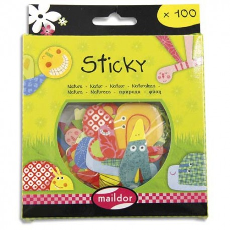 MAILDOR Boite de 100 gommettes Sticky découpées repositionnables thème la nature.
