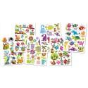 Lot de 6 planches de stickers gel 3D multithématiques. Dimensions planche : 11,5x15,5 cm.