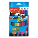 Crayon de couleur Maped ColorPeps Maxi mine 4,7 mm boite de 12 couleurs assorties