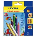 Crayon de couleur Lyra Triple One corps triangulaire couleurs assorties étui de 12