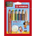 Crayon de couleur Stabilo Woody aquarellable multi usage extra large coloris assortis étui de 6