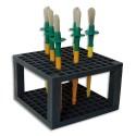 SAFETOOL Bloc présentoir plastique 14,5x14,5x9cm 96 trous pour pinceaux - facilite le séchage - gris