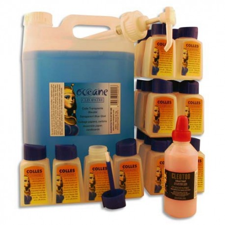 CLEOPATRE Lot 5 litres colle marine océane + 24 flacons vides + pompe + cléotoo 100ml offert