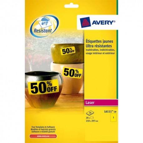 Etiquette AVERY L4775 - Pochette de 20 étiquettes laser inalterables 210X297mm jaune L4775-20P/20