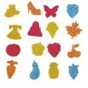 Lot de 16 emporte-pièces avec poussoir, motifs et couleurs assortis