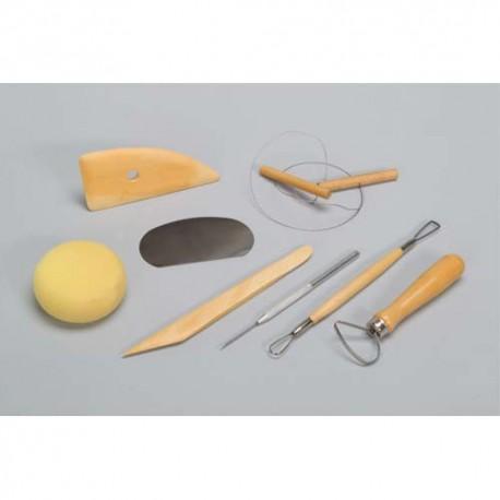 Kit du potier 8 outils Eponge, estèque bois et métal, tournasin, mirette, aiguille, ébauchoir, fil
