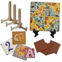 Lot de 20 plaques céramiques 10x10 cm à décorer + 20 chevalets 13 cm