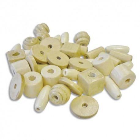 Sachet de 300 perles en bois brut assorties (50 pièces x 6 modèles)