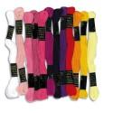 Lot de 12 échevettes de 7m à 6 brins en coton pour fabriquer des bracelets brésiliens, rose assortis