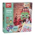 APLI Boîte de 4 masques en mousse à décorer thème robot