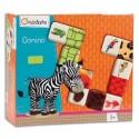 AVENUE MANDARINE Boîte jeu de dominos thème animaux et texture, 28 dominos de 11x 5,5 cm