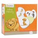 AVENUE MANDARINE Boîte de jeu memory thème animaux de la savane 48 pions, 24 paires diamètre 5,5cm