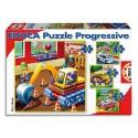 EDUCA Lot de 4 puzzles progressifs de 12-16-20-25 pièces de 16x16cm thème véhicules