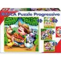CULTURE CLUB Lot de 4 puzzles progressifs de 6-9-12-16 pièces de 16x16cm basé sur les animaux