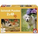 Boîte de 2 puzzles 48 pièces chacun thème chat chien