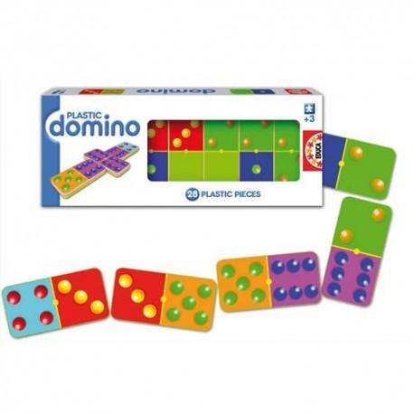 Jeu de dominos classique en plastique coloré 28 dominos à 6 points dimensions 11 x 3,5cm