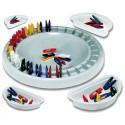 Jeu de domino circulaire avec des mini-pinces de 4 cm. Plateau de 28 cm. Identification des couleurs