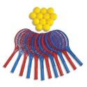 FIRST LOISIRS Lot de 12 raquettes de tennis plastique ''classic'' longueur 54 cm + 12 balles mousse Ø 70