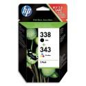 HP 338/343 (SD449E) - Pack 2 de cartouches jet d'encre noir et couleur de marque HP SD449EE (HP 338/343)