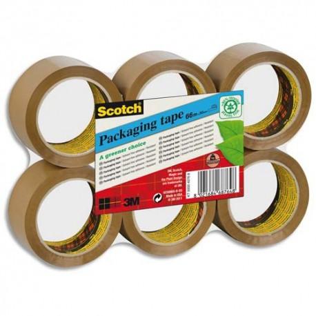 Ruban adhésif d'emballage Scotch PVC 100% recyclé 55 microns - Dimensions H50 mm x L66 mètres havane