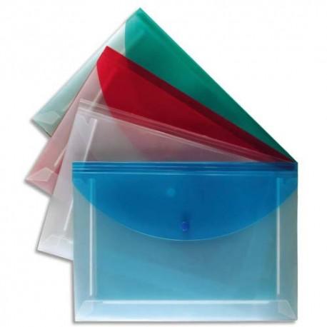 VIQUEL Enveloppe plate PROPYGLASS à soufflets 5 compartiments en polypropylène 2/10e, format A4, assortis