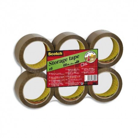Ruban adhésif d'emballage Scotch polypropylène silencieux 50 microns - Dimensions : H50 mm x L66 mètres havane