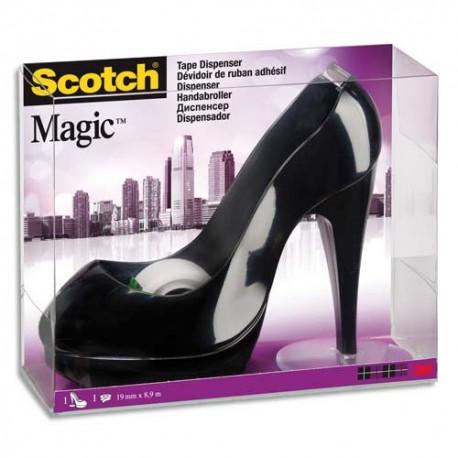 SCOTCH Dévidoir forme escarpin noir avec rouleau adhésif Magic 19mmx8,9m. Livré en boite transparente